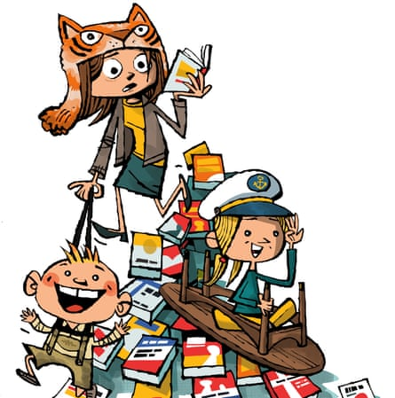 cartoon mother reading piles of books and happy children