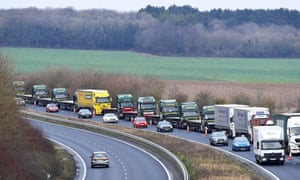 Lorries taking part in a no-deal Brexit test on the roads near Dover in January.