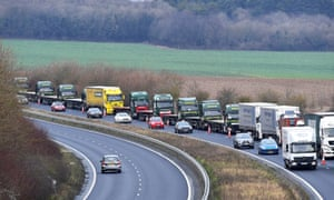 A queue of lorries in Kent during tests of a plan for no-deal Brexit