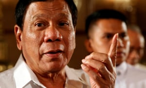 Philippine President Rodrigo Duterte talks to reporters after a news conference at the presidential palace in Manila in March 2017.