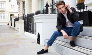 Young man not wearing socks