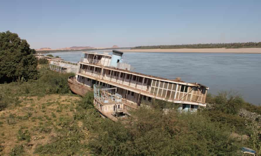 Abandoned Nile steamers stranded on the river bank at Karima.