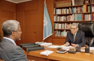 U.N. Secretary General Boutros-Ghali, right, meets with the U.N. peacekeeping chief, Undersecretary-General Kofi Annan or Ghana at the United Nations in New York in 1993. Annan reported to Boutros-Ghali on the daily meeting of the Department of Peacekeeping Operations.