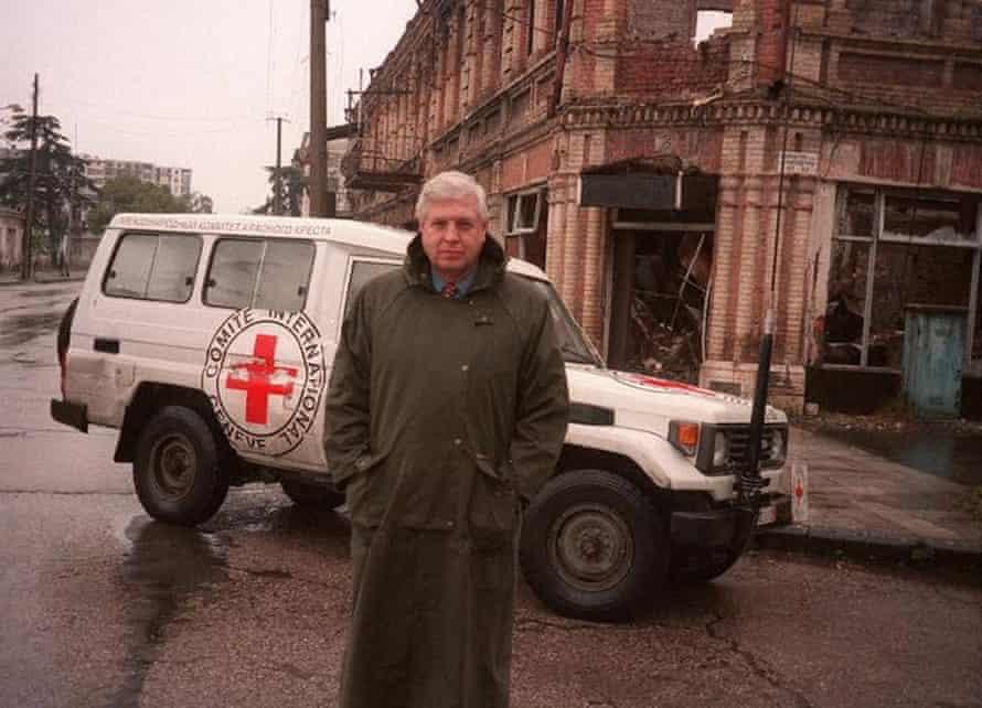 John Simpson in Chechnya in 1998.