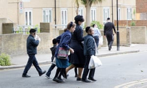 Children on the way to their ultra-Orthodox Jewish school in north London