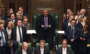 The Speaker, John Bercow, casts his deciding vote, in a tied Commons vote on Brexit, 3 April 2019.