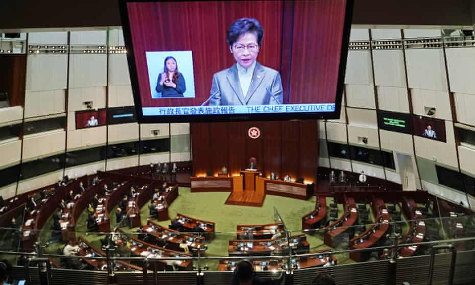The Hong Kong chief executive, Carrie Lam, delivers her annual address to a sparsely attended Legislative Council.