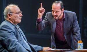 Sizeable egos … Peter Polycarpou as Ahmed Qurei and Philip Arditti as Uri Savir in Oslo.