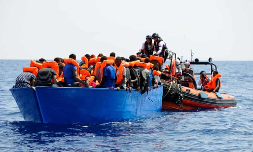 A rescue operation in the Mediterranean in August.