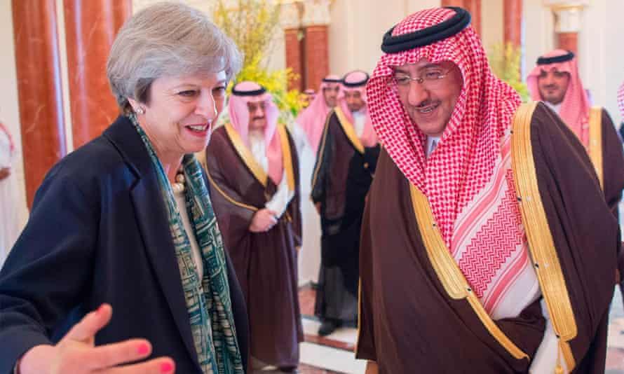 Theresa May in Saudi Arabia in April.