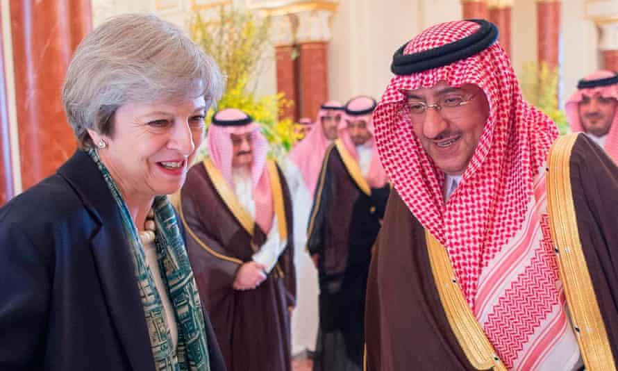 Theresa May with crown prince Muhammad bin Nayef during her visit to Saudi Arabia in April