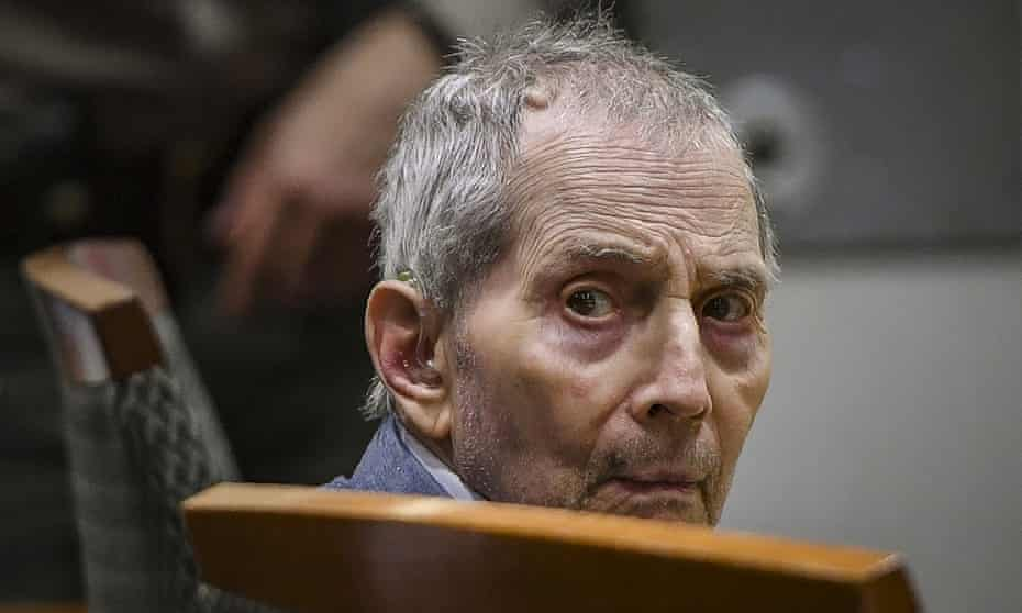 Robert Durst, a real estate heir, looks back during his murder trial in Los Angeles on 5 March 2020.
