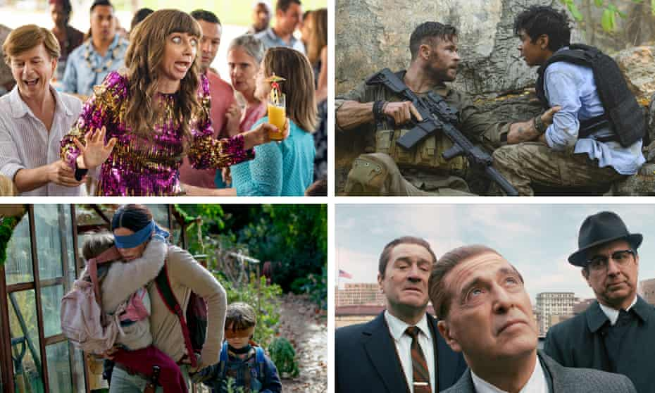Stills from The Wrong Missy, Extraction, The Irishman and Bird Box