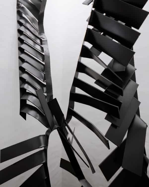 Like crumpled ribbons … Monika Sosnowska's mangled steel stairs.