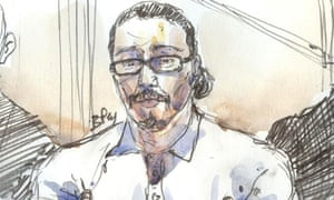 Courtroom sketch of Jawad Bendaoud in court in Paris.