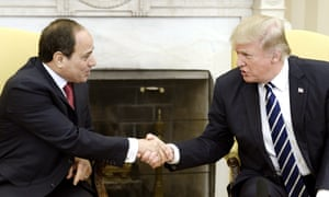Egypt's President Abdel Fatah al-Sisi shakes hands with Donald Trump on 3 April 2017