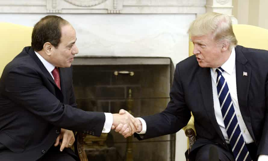 Egypt's President Abdel Fatah al-Sisi shakes hands with Donald Trump on 3 April 2017