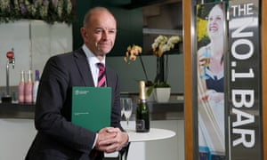 Finance director Richard Atkinson in a debenture holders' bar with the new prospectus.