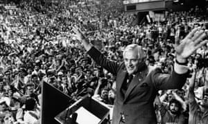 John Turner raises his arms in victory after winning the Liberal leadership in 1984. He became prime minister in 1988 but lost power over the US trade deal.
