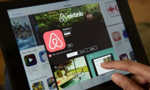 Airbnb website being used on a tablet