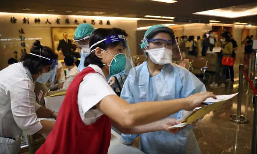 A vaccination session for medical workers in New Taipei City, Taiwan, in May.