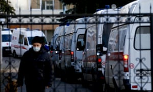 Ambulances queue in front of a hospital in Moscow on Saturday