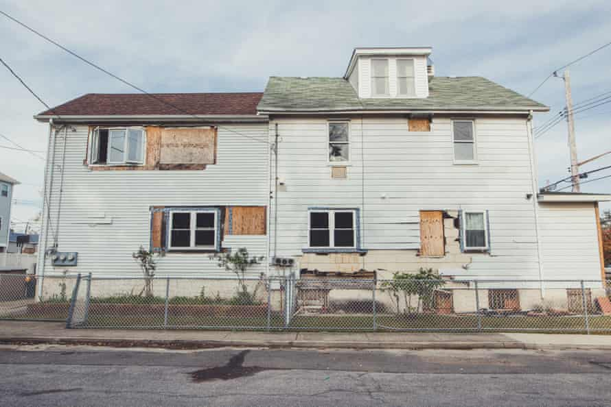 A house is boarded up five years after being devastated by Hurricane Sandy in the Midland neighborhood of Staten Island.