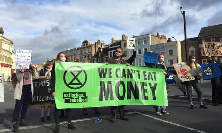 Extinction Rebellion protesters in Lewisham.