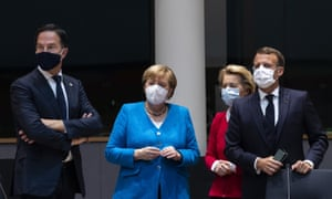 From left, the Dutch prime minister, Mark Rutte, the German chancellor Angela Merkel, the European Commission president, Ursula von der Leyen and the French president, Emmanuel Macron during the EU summit.