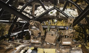 The reconstructed cockpit of Malaysia Airlines flight MH17. The Dutch safety board did not point the finger at any group for launching the missile.
