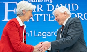 International Monetary Fund chief Christine Lagarde greets Sir David Attenborough at IMF headquarters in Washington, DC.
