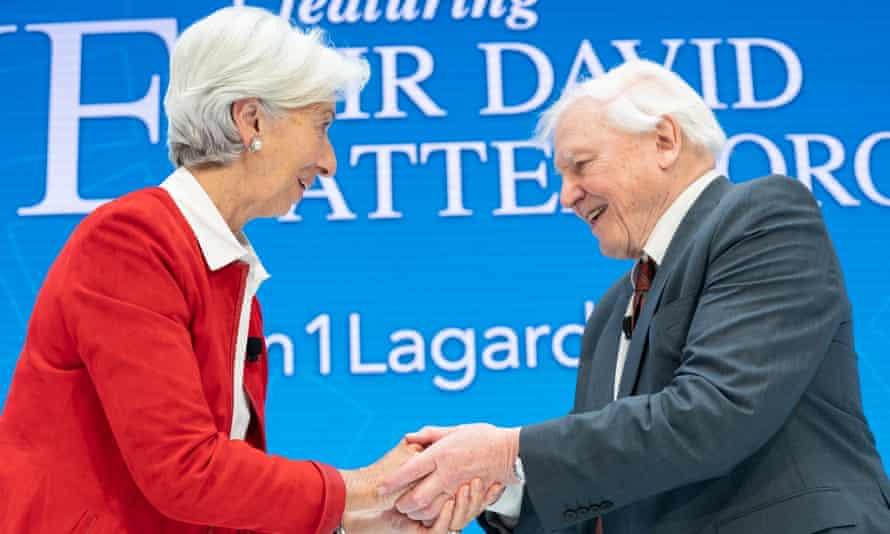 International Monetary Fund chief Christine Lagarde greets Sir David Attenborough at IMF headquarters in Washington, DC.