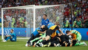Croatia's players celebrate at the end of the penalty shootouts