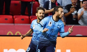 Adam Le Fondre of Sydney celebrates after scoring during the FFA Cup Final match between Adelaide United and Sydney FC