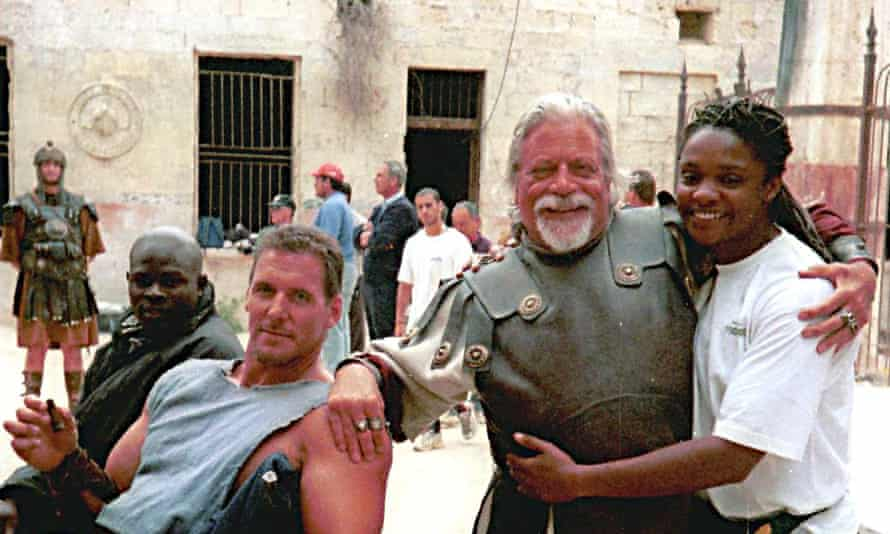 Oliver Reed with members of the cast and crew of Gladiator in Valletta.