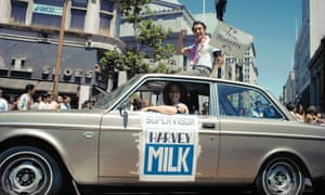 Harvey Milk at an LGBT pride parade in 1978.