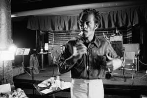 American rock 'n' roll singer Chuck Berry, circa 1975.