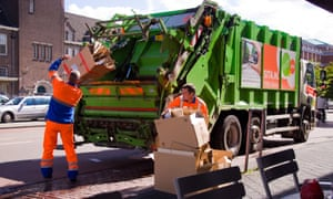 Refuse collection in Maastricht in the Netherlands.