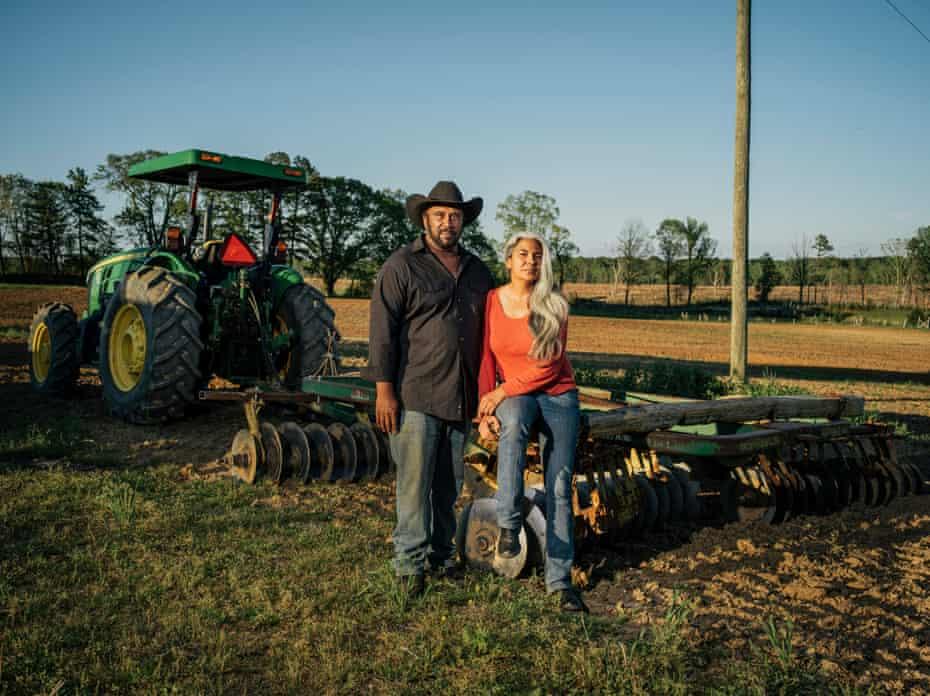 John Boyd Jr, and his wife, Kara, at their 210-acre farm in Baskerville, Virginia.