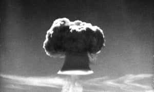 The mushroom cloud of a British H-bomb test at Christmas Island in the late 1950s.