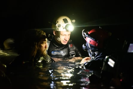 Rescue divers Erik Brown and Jim Warny, who play themselves, behind the scenes of The Cave