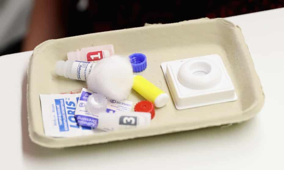 An HIV test kit.