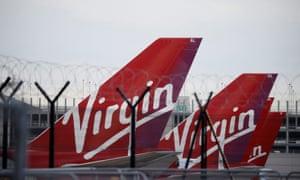 Virgin Atlantic planes parked at an airport