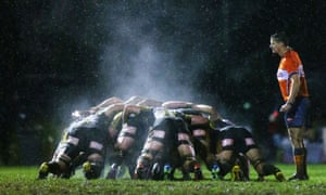 A steaming rugby scrum.