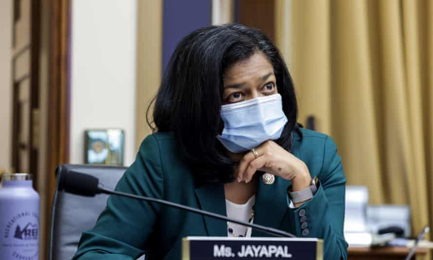 Pramila Jayapal in July. Jayapal and Coleman had received the first round of the Pfizer vaccine and were days away from the second.