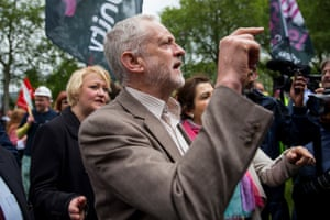 The Labour leader, Jeremy Corbyn, attends a steel workers protest