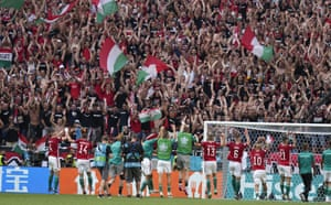 Hungary team celebrates in front of their fans.