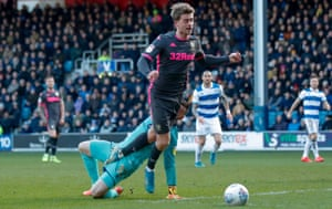 Leeds United forward Patrick Bamford wins a penalty.