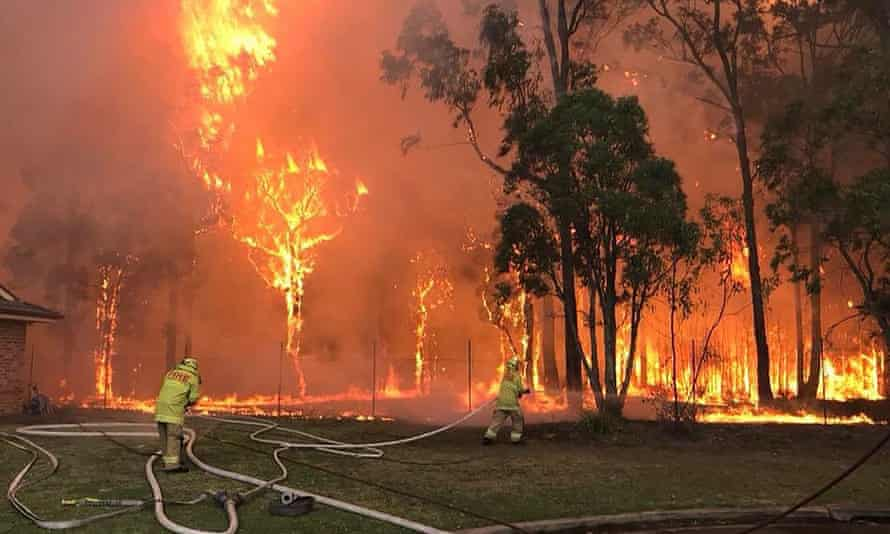 Firefighters tackle a bush fire in Sydney.