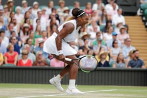 Serena Williams roars after a winning volley.